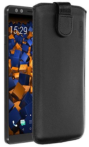 mumbi Echt Ledertasche kompatibel mit HTC U12+ Hülle Leder Tasche Hülle Wallet, schwarz