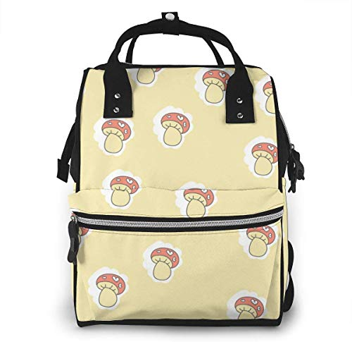 UUwant Sac à Dos à Couches pour Maman Large Capacity Diaper Backpack Travel Manager Baby Care Replacement Bag Nappy Bags Mummy Backpack,(Cute Mushrooms on A Yellow Background
