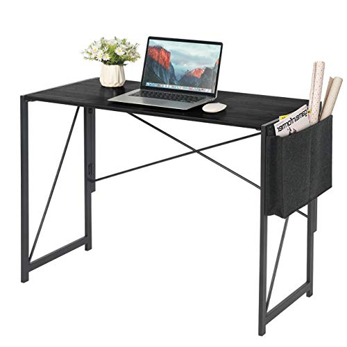 """Writing Computer Desk - 39.3"""" Modern Simple Folding Laptop PC Table with Storage Bag for Home Office Study Workstation, Space-Saving Design, No Assemble & Metal Frame(Black)"""
