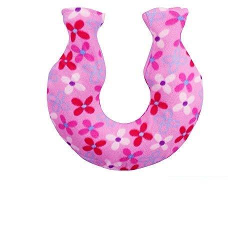 SNAGAROG Hals Schulter-Wärmflasche U-förmiger PVC Heißwasser-Tasche mit Rosa Abdeckung, für Nacken-, Rückenschmerzen und Menstruationschmerzen (1400 ml)