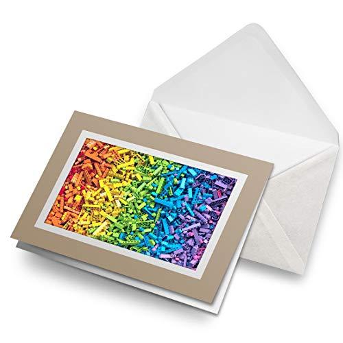 Awesome Greeting Cards Biege (inserto) – Colección de ladrillos de color arcoíris en blanco tarjeta de felicitación de cumpleaños para niños y niñas #14331