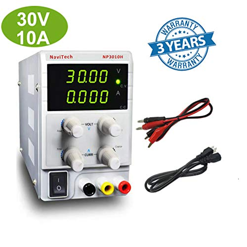 30V/10A DC Bench Power Supply Variable 4-Digital LED Display, High Precision Adjustable Switching Power Supply with Free Alligator Clip US Power Cord, for Lab Equipment, DIY Tool