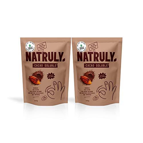 NATRULY Cacao en Polvo Sin Azúcar Refinado, Cacao Soluble Orgánico, Sin Gluten, Sin Lactosa, Solo 25% Azúcar de Coco -Pack 2x225g