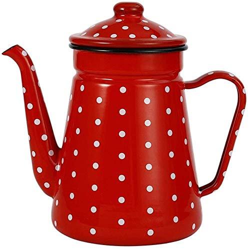SMBYQ Emaille-Kessel Teekanne Kaffeekanne - Kleine Kaffeekanne Teekanne Induktions-Herd Gasherd,Red2,1.2L