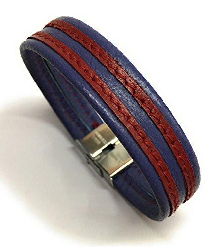 YOJAN PIEL - Pulsera de Cuero Azulgrana (Medida Ajustable) | Complementos de Moda Unisex para Hombres y Mujeres de Estilo Atemporal y Elegante | Regalos Originales y Exclusivos