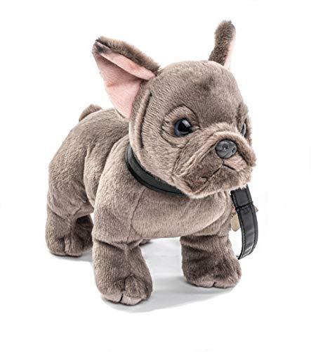 Uni-Toys - Französische Bulldogge mit Leine - 26 cm (Länge) - Hund, Haustier - Plüschtier, Kuscheltier, Grau, HT-30145