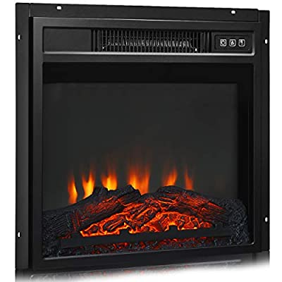 """Tangkula 18"""" Electric Fireplace Heater, Freestanding & Recessed 1400 W Electric Stove Heater w/Adjustable LED Flame, Fireplace Insert w/Remote Control, Safer Plug and Sensor"""