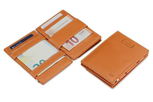 Portafoglio Garzini Magic in vera pelle sottile e minimalista da uomo con sistema di blocco RFID, custodia per le carte, linguetta di estrazione e portamonete