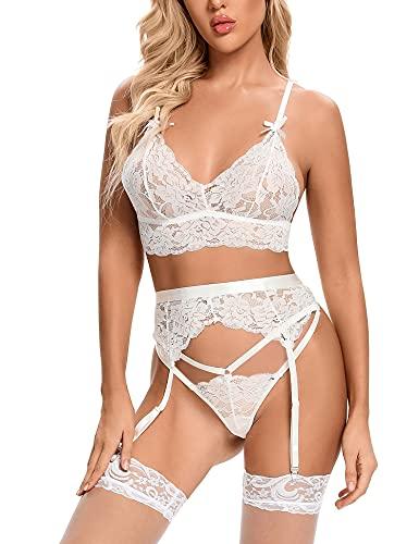 Aranmei - Set lingerie da donna in pizzo con reggicalze con reggiseno e mutandine sexy, bianco, M