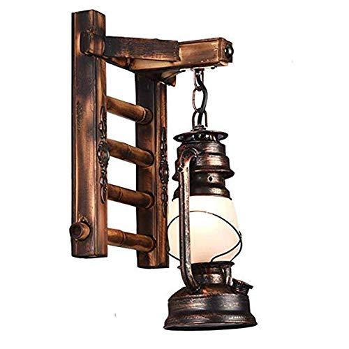 CNCDRS Pared Accesorio de iluminación de la Linterna de la Vendimia de la Personalidad rústica nórdica Creativo de Madera Maciza Pared de Cristal de la lámpara Linterna Dormitorio lámpara de cabecera