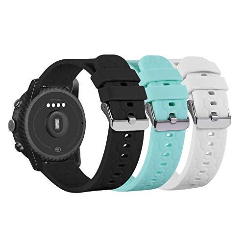 Tencloud Armbänder kompatibel mit Uwatch3 Uwatch 3/Willful/LIFEBEE/Letsfit/Letscom ID205L Armband, weiches Silikon Sport Verstellbares Ersatzarmband für Uwatch3 Smartwatch (Schwarz, Weiß, Blaugrün)