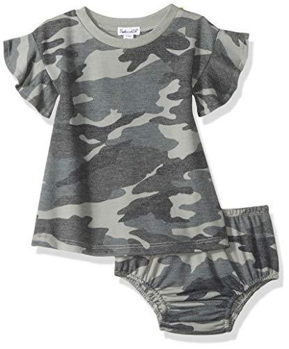 Splendid Baby and Toddler Girls' Dress Set, Short & Long-Sleeve, Dusty Olive Camo, 12/18 Months
