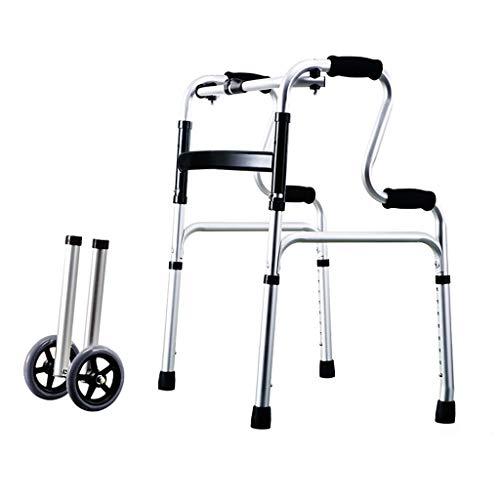 MYYLY Rolstoel, lichte, opvouwbare rollator, revalidatie-rollator met zitting, in hoogte verstelbaar, voor volwassenen en ouderen met een obstakel