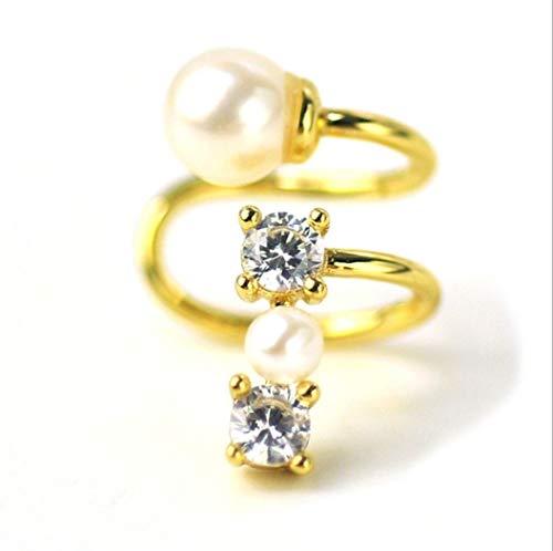 YOYOYAYA Orecchini Natural Crystal Gems 925 Silver Perla U-Clip Gioielleria Femmina Ragazza Delicato Festa Data Eleganza Dono