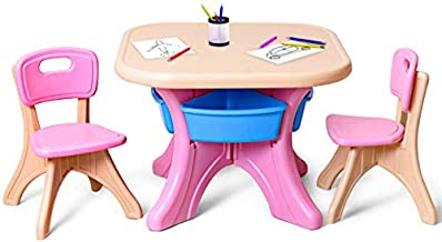 Costzon Kids Table and 2 Chair Set, Children Activity Art Table Set w/Detachable Storage Bins, Strong Bearing Capacity, Lightweight, Kiddie-Sized Plastic Furniture (Pink)