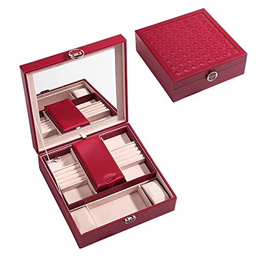 Caja de joyería 2 Niveles PU Cuero Organizador Organizador Caja de Gran Capacidad Caja de Almacenamiento de Colgantes con contenedores de Bloqueo y Espejo para Mujeres Caso Organizador (Color : Red)