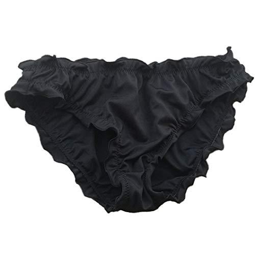 Victoria Malinsa Women's Ruffle Wavy Bikini Bottom Low Rise, Black, Size X-Large