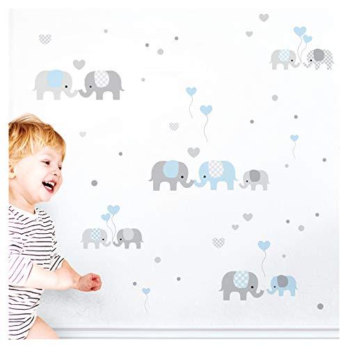 Little Deco Wandaufkleber Kinderzimmer Junge Elefanten Grau Blau I Zwei A4 Bögen I Wandtattoo Deko Aufkleber Babyzimmer Wandsticker Jungs Sticker DL334