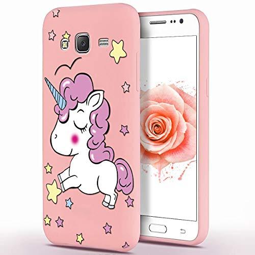 ZhuoFan Cover Samsung Galaxy J3 2016, Custodia Cover Silicone Rosa con Disegni Ultra Slim TPU Morbido Antiurto 3d Cartoon Bumper Case Protettiva per Samsung Galaxy J3 2016, Unicorno