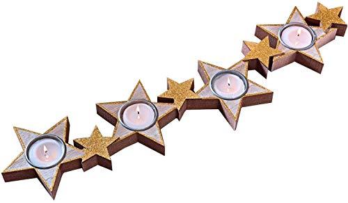 dropo.de Adventskerzenständer aus Holz moderner Adventskranz Weihnachtsdeko 48cm