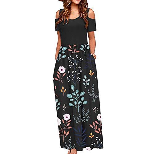 WSAD DUTYLOVE Kleid Blumen Damen Lang Sommer Elegant Maxi Sommerkleid Kurzarm Maxikleid Leichte Sommerkleider mit Taschen Strandkleider(Schwarz, Numeric_40)