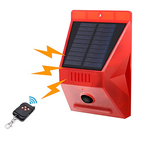 Solar Strobe Light with Motion Detector Achort Solar Alarm Light with Remote 129db Sound Security Siren 8 LED Light IP65 Waterproof 4 Work Modes for Home Farm Barn Villa Yard