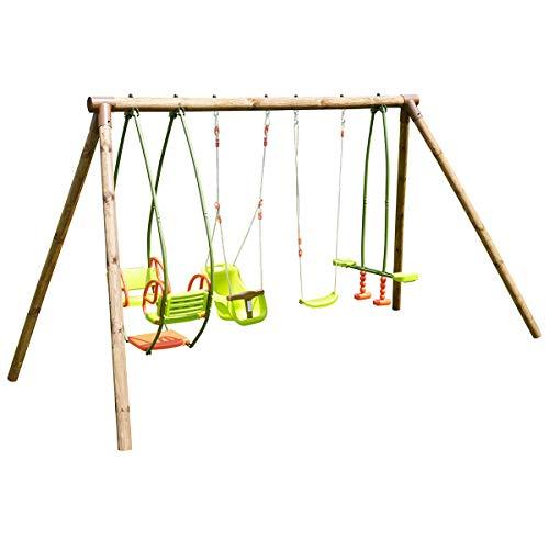 Soulet Portique de madera de 4 agres, de 6 meses a 12 años, 6 niños