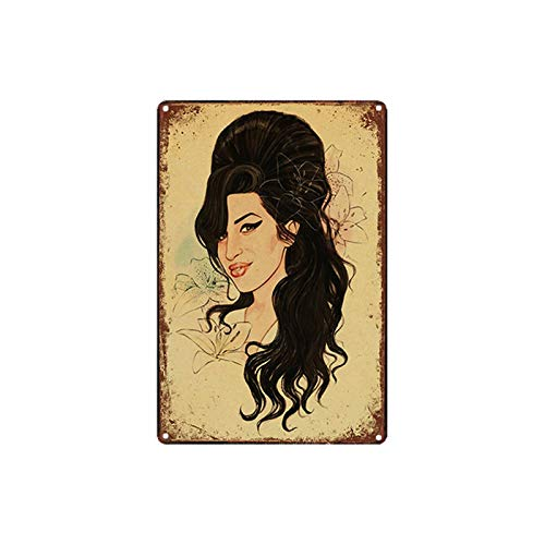 ivAZW Tin Sign Female Singer Art Poster Metal Art Painting Retro Iron Plaque Crafts Bar Music Club Home Decoration 20x30cm 9