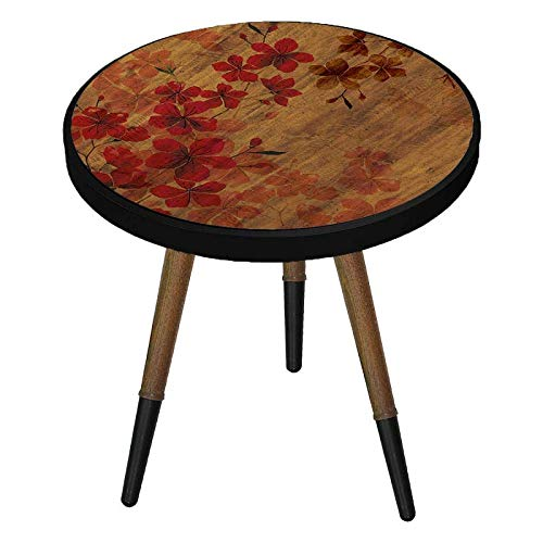 Mabel Home Side Table Modern Circle Coffee Table, End Table for Living Room/Bedroom (red)