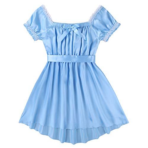 YiZYiF Men's Satin Frilly Girly Costumes Sissy Dress Cross Dresser Lingerie Pajamas Nightwear Blue Large