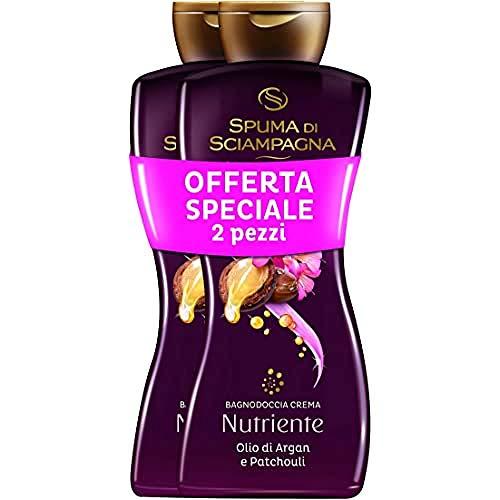 Spuma di Sciampagna Bagnodoccia Crema Nutriente Olio Di Argan E Patchouli 2 Confezione - 500 Ml