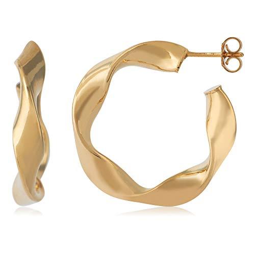 Córdoba Jewels | Pendientes en plata de ley 925 bañada en oro con diseño Aros Rizados Gold