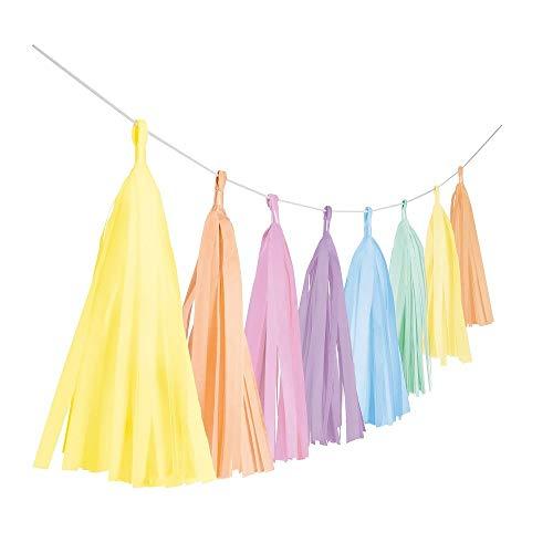 Amscan 9904613 - Fransengirlande Pastel Rainbow, Länge 3 m, Hängedekoration, Geburtstag, Mottoparty, Karneval