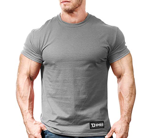 Monsta Clothing Co. Men MMA Fight Training (Tap Or Bleed-OOO) Gym T-Shirt (G:GY) Grey