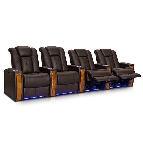 Seatcraft Monaco Home Theater Seaitng - Top Grain Leather - Power Recline - SoundShaker - USB Charging - Ambient Lighting - Wall Hugger (Row of 4, Brown)