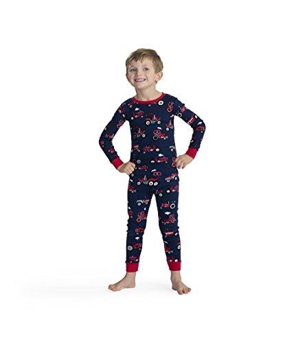 Hatley Jungen Organic Cotton Long Sleeve Printed Pyjama Set Zweiteiliger Schlafanzug, (Red Farm Tractors), (Herstellergröße: 6 Jahre)