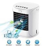 Enfriador de Aire Personal, WELTEAYO Ventilador evaporativo con 3 velocidades de Ventilador, purificador humidificador con USB Alimentado por, Ventilador de Escritorio para Oficina
