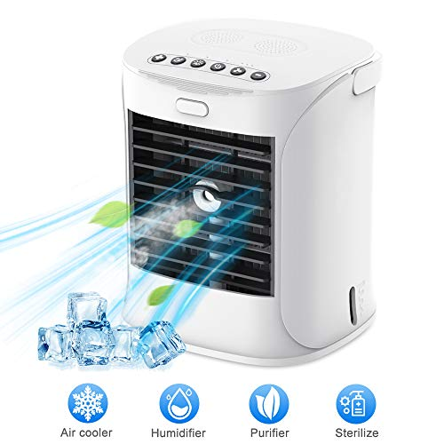 Refroidisseur d'air personnel Welteayo, ventilateur portable à refroidissement par eau, refroidisseur par évaporation avec 3 vitesses de ventilation, humidificateur purificateur avec lumière UV, alimenté par USB, ventilateur de refroidissement po