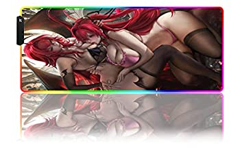 Mouse Pads Anime Girl RGB Gaming Mouse Pad LED Gaming Waterproof Resistant Extra Large Workbench Mat Extended Non-Slip Rubber Base Stitched Edges D  31.49x11.81x0.15 inch