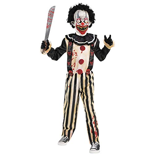 amscan Clown Costume Pc Scary Slasher-Disfraz de payaso para niños de 14 a 16 años (1 pieza), Large Age 14-16 Years (9902444)