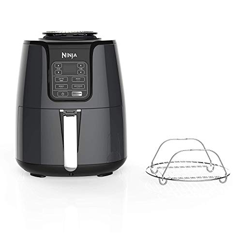 Ninja Fryer, 1550-Watt Programmable Base for Air Frying, Roasting, Reheating & Dehydrating with 4-Quart Ceramic Coated Basket (AF101), Black/Gray (Renewed)