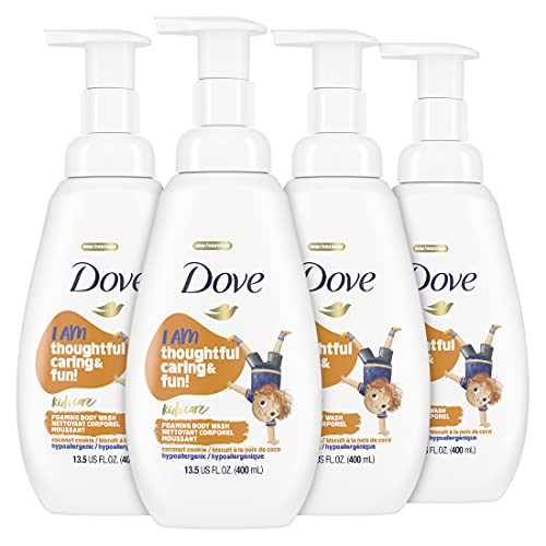 Dove Foaming Body Wash For Kids Coconut Cookie Sulfate-Free Skin Care, 13.5 Fl Oz, Pack of 4
