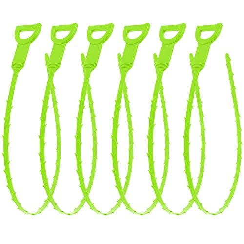 6 Stück Abflussreiniger,Abfluss Schlange Haar Reinigung Werkzeug,reinigungshaken abfluss mit Schlangenförmigem Abflussreiniger und Biegbarem Haarentferner für Badezimmer und Küchen (Grün)