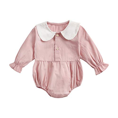 Sanlutoz Niñito Mamelucos Lindo Invierno Recién Nacido Mono Largo Manga Casual Bebé Niña Bodysuits (0-6 meses/66cm, BRW8158-PK)