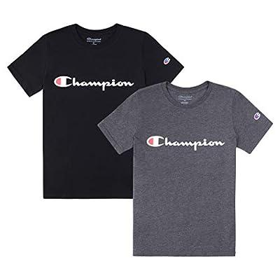 Champion Heritage Boys 2 Pack Logo Tee Shirt Top Sets Kids Clothes (Black/Granite Heather Script, X-Large)