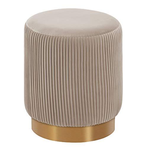 Duhome Sitzhocker Polsterhocker Hocker Rund Schminkhocker hochwertiges Design 9163, Farbe:Beige, Material:Samt
