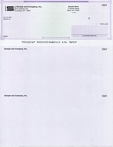 """Computer Checks""""Ultimate Security"""" 100 Printed Laser Computer Voucher Checks Paper Weight # 28 - Compatible for QuickBooks - Purple Maze"""