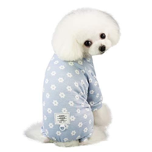 Makalon Hund Sommer Mode Freizeit Baumwolle Atmungsaktiv Daisies Drucken Kleider Hundepullover Hunde Kleid Katze Frühling Süß Lange Ärmel Komfort Kleidung Pyjama Shirt für Haustiere