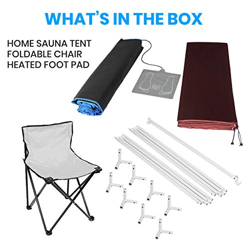SereneLife Portable Full Size Infrared Home Spa  One Person Sauna   with Heating Foot Pad and Portable Chair