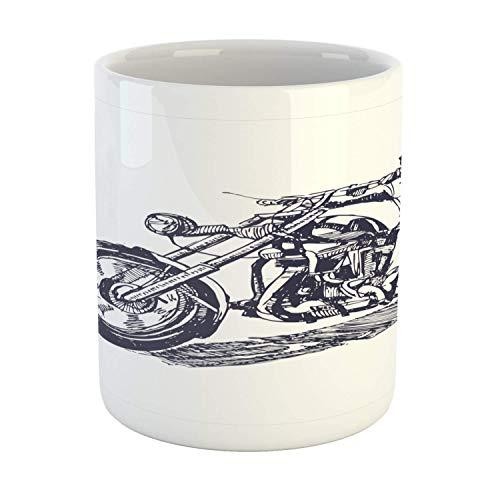 N\A Taza Blanca, ilustración de Jinete en el helicóptero, patrón Dibujado a Mano, diseño temático de Viaje, Arte, Taza de café de cerámica para Bebidas de té de Agua, 11 oz, Blanco y Negro